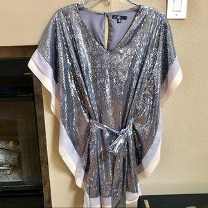 C. Luce Silver Sequined Tie Waist Top